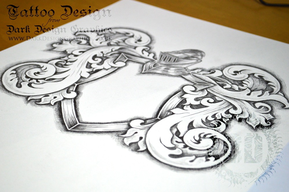 1000x665 A Fully Shaded Coat Of Arms Template Download Perfect For A Tattoo