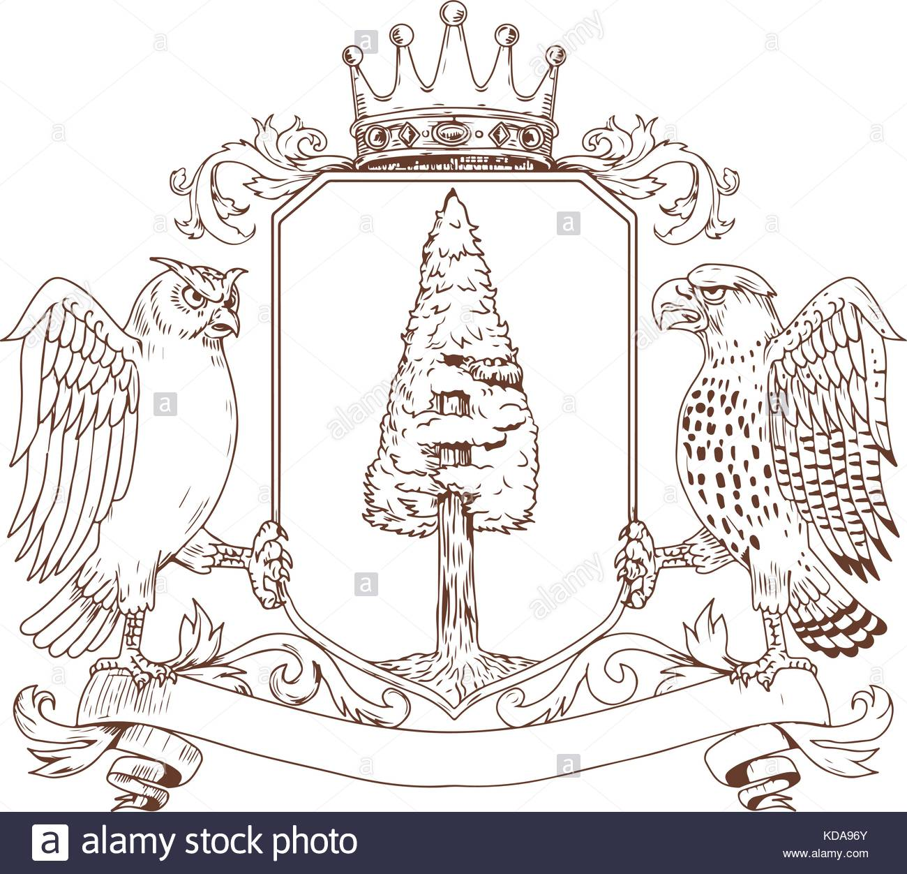 1300x1252 Drawing Sketch Style Illustration Of Coat Of Arms Showing An Owl
