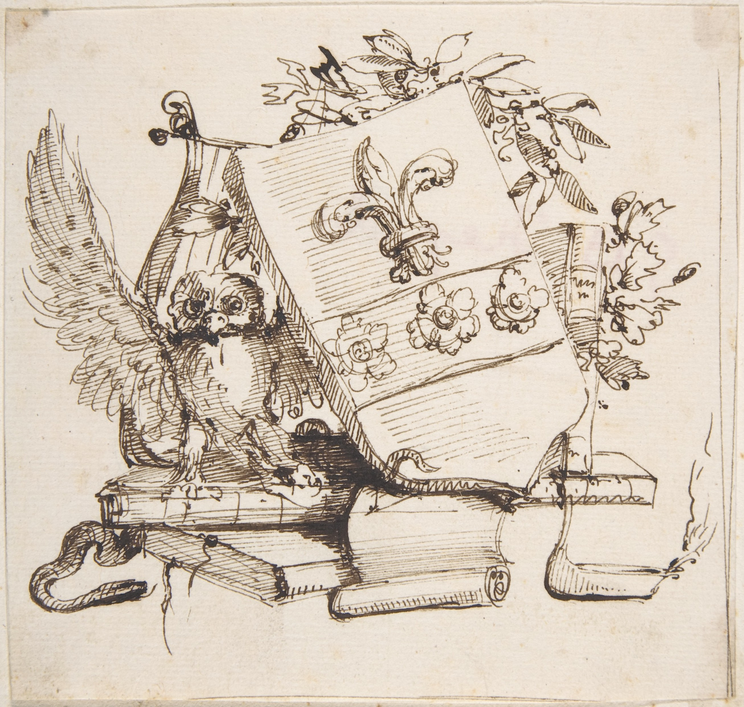 2613x2481 Filedrawing Of A Decorated Coat Of Arms Surrounded By Books, Owl