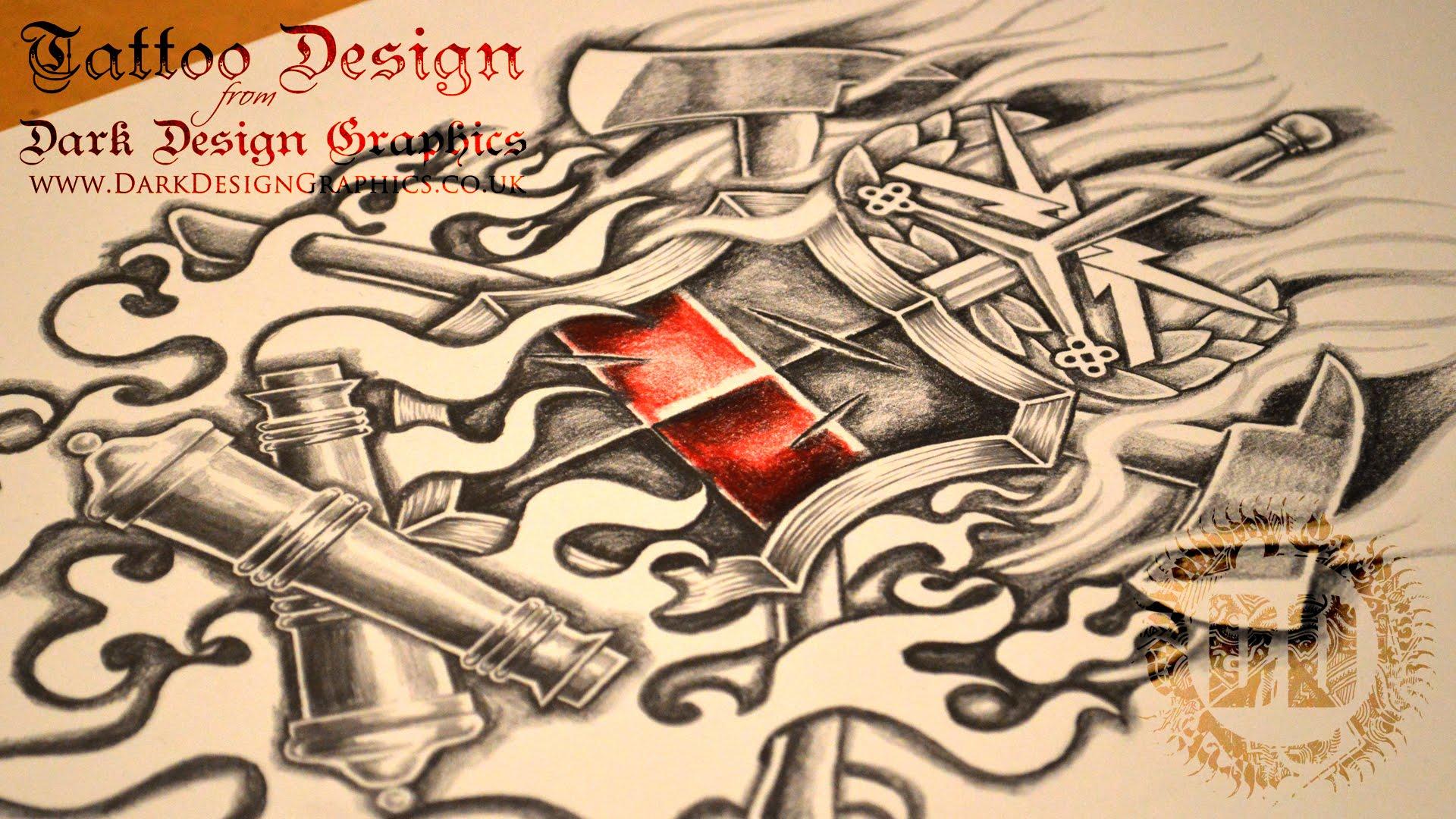 1920x1080 Warrior Coat Of Arms Tattoo Design
