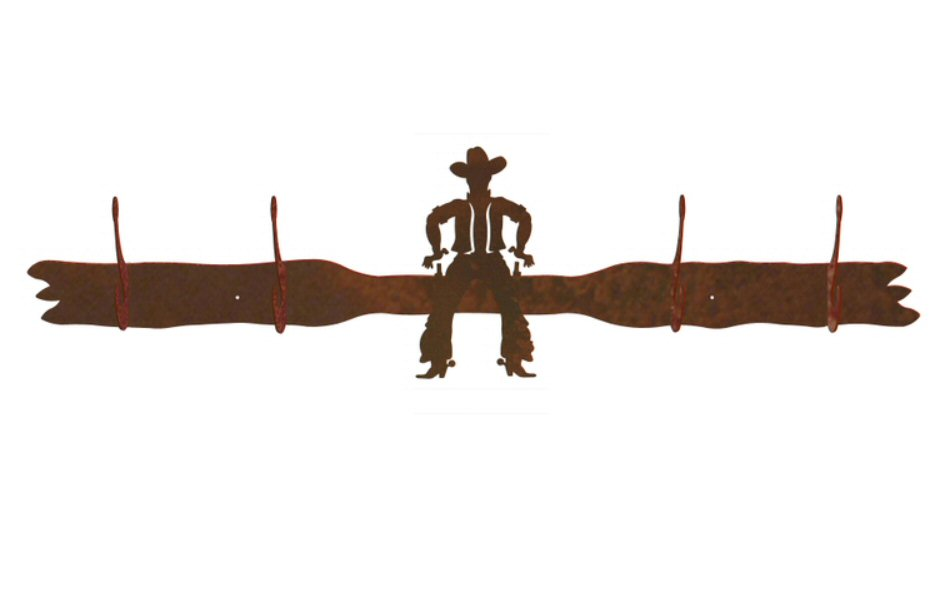 950x600 Cowboy Drawing Pistol Four Hook Metal Wall Coat Rack