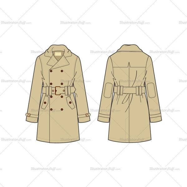 600x600 Men's Classic Trench Coat Fashion Flat Template Classic Trench
