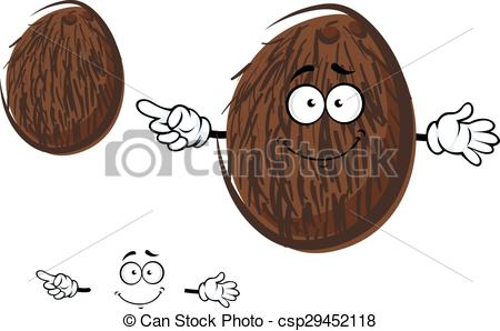 450x298 Cartoon Cheerful Coconut Fruit Character. Cartoon Tropical