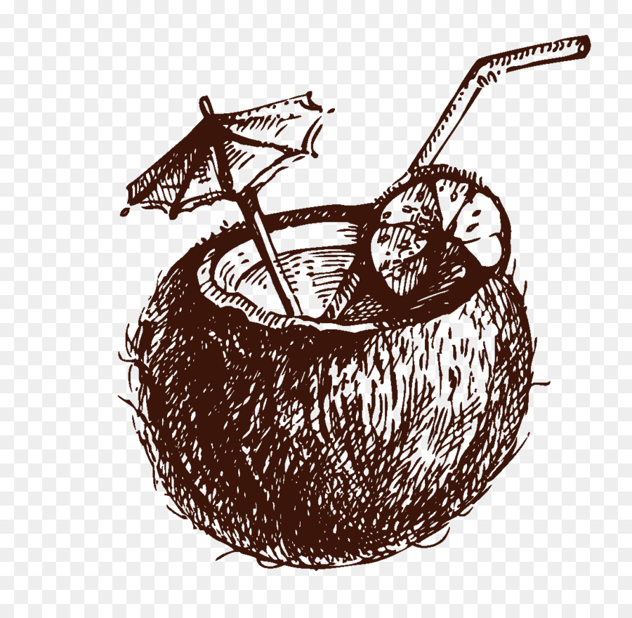 900x880 Cocktail Coconut Water Drawing