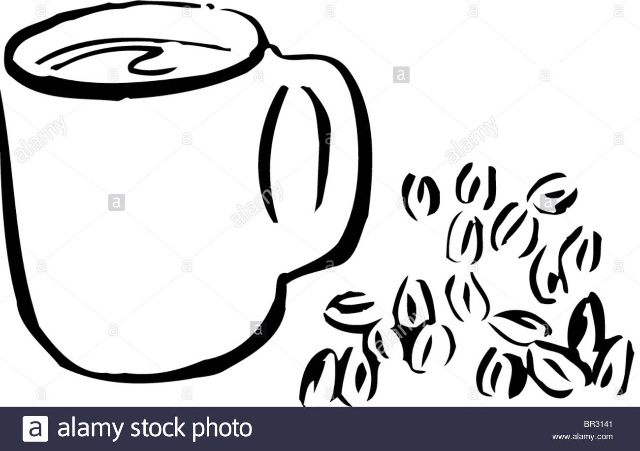1300x916 A Black And White Drawing Of A Cup Of Coffee And Coffee Beans