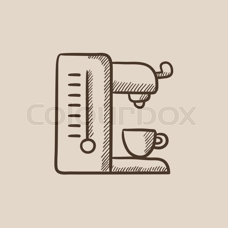 800x800 Coffee Maker Sketch Icon For Web, Mobile And Infographics. Hand