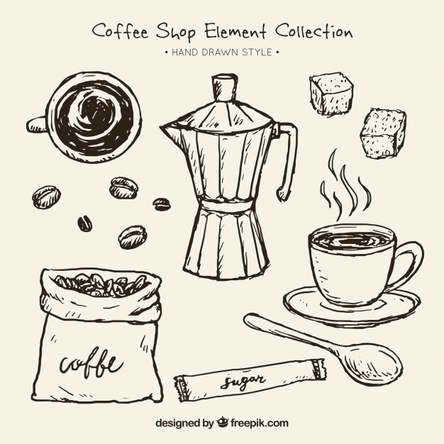 626x626 Sketches Of Coffee Maker And Elements For Pack Vector