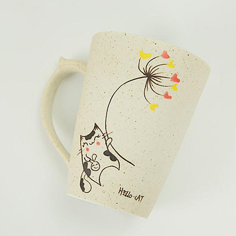 800x800 Hand Drawing Cartoon Cat Pattern Ceramic Morning Mug With Lid