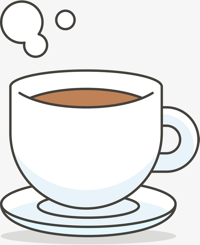 650x794 White Coffee Cup, Cartoon Hand Drawing, Coffee, White Porcelain