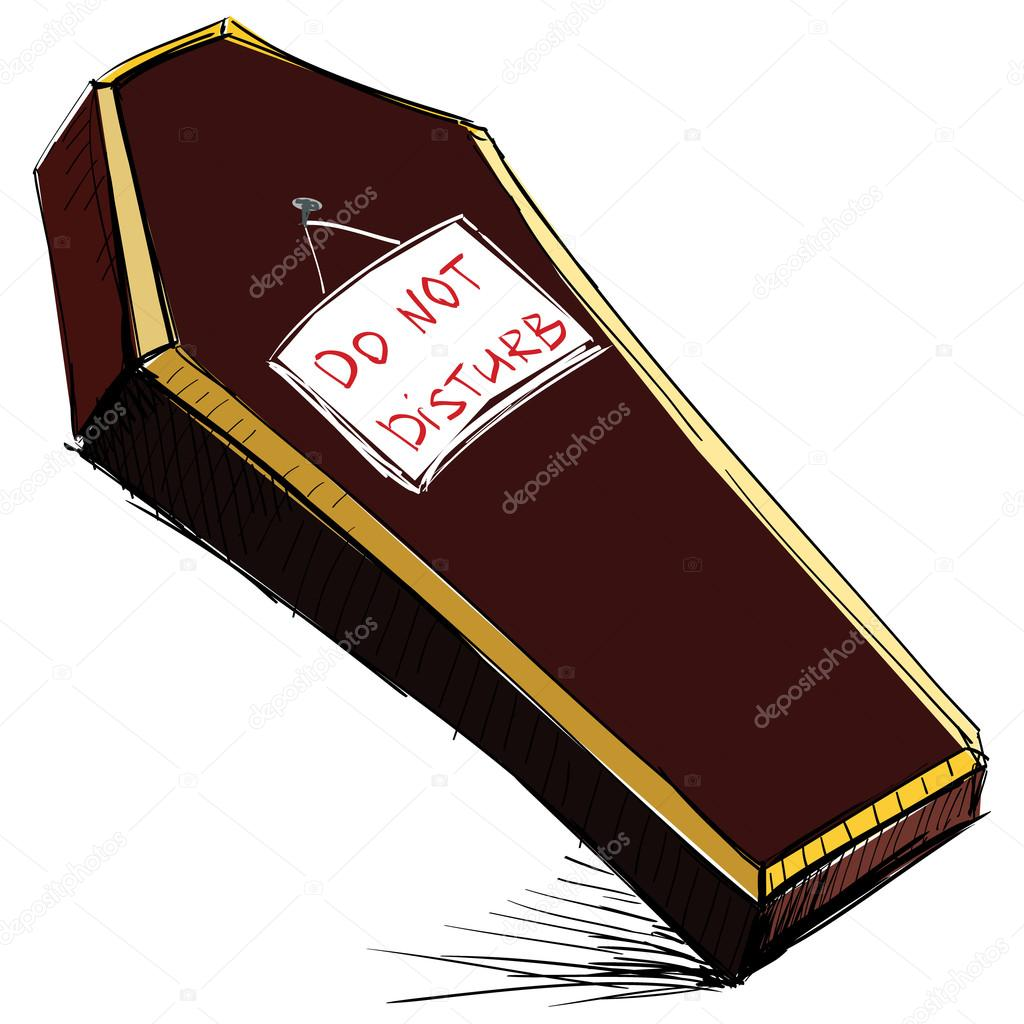 1024x1024 Do Not Disturb Coffin Isolated On White. Hand Drawing Sketch