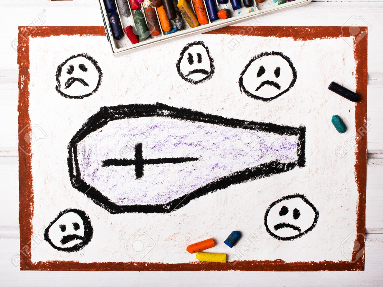 1300x975 Drawing Coffin Surrounded By Sad Faces Stock Photo, Picture