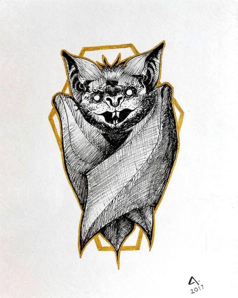 770x963 Saatchi Art Bat's Golden Coffin Drawing By Juan Arenas