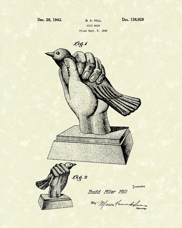 720x900 Bird In The Hand Coin Bank 1943 Patent Art Drawing By Prior Art Design