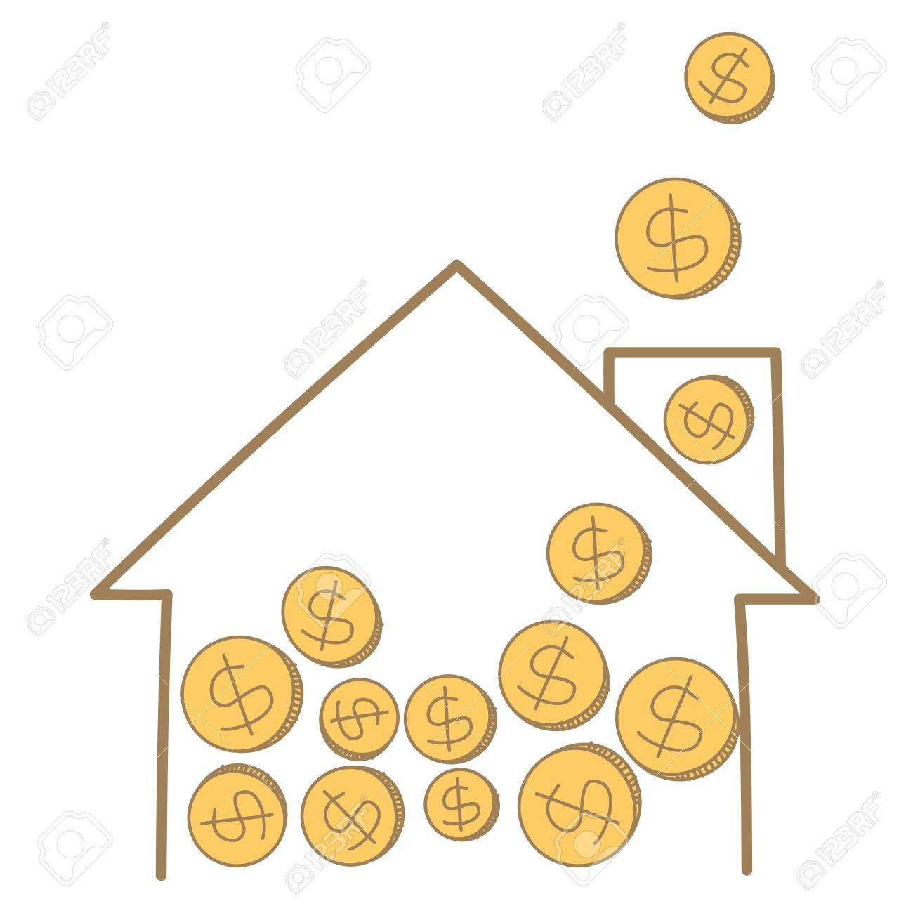 1300x1300 Cartoon Drawing Of Money Coin Falling On House Frame Royalty Free