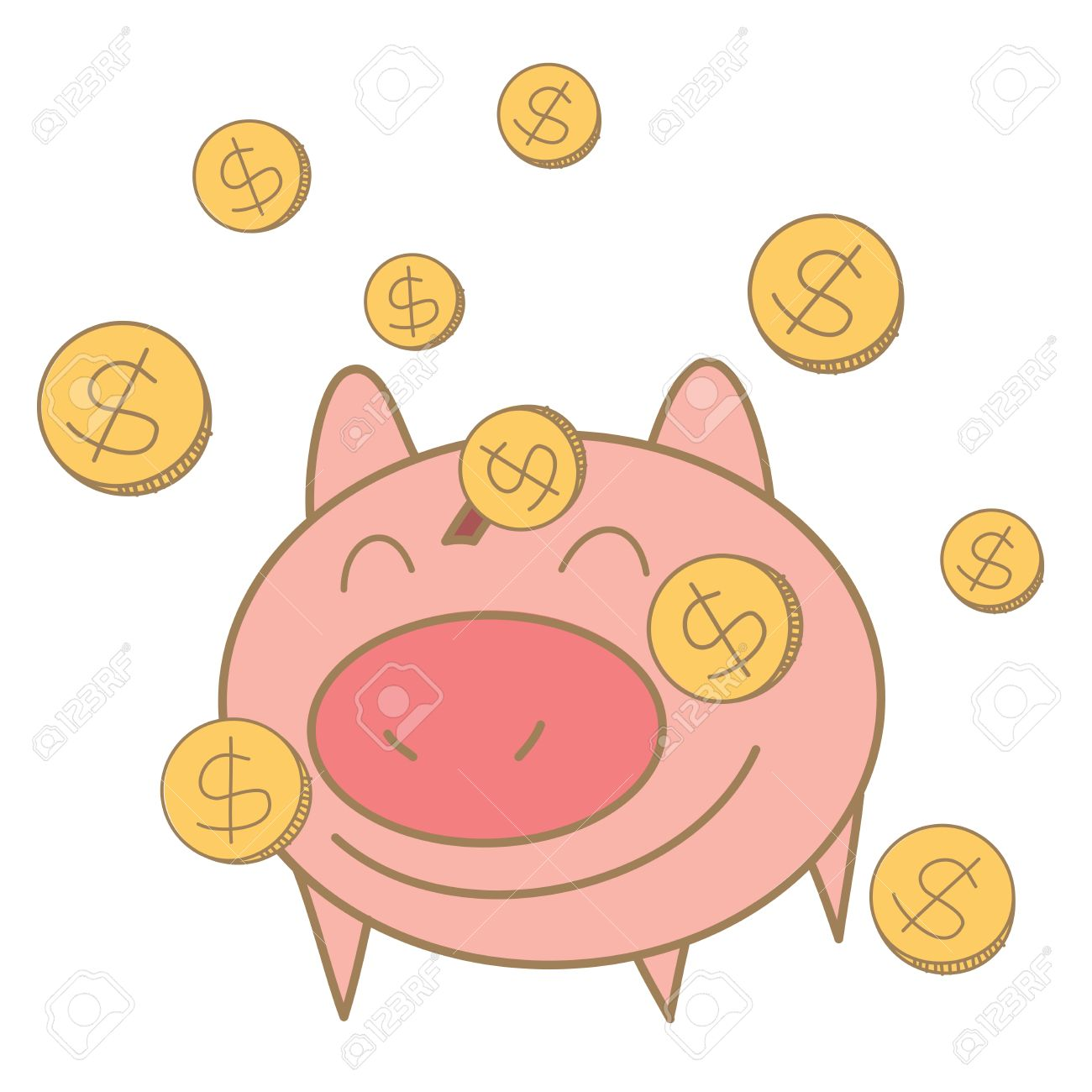 1300x1300 Cartoon Drawing Of Money Coin Falling On Pig Money Box Royalty