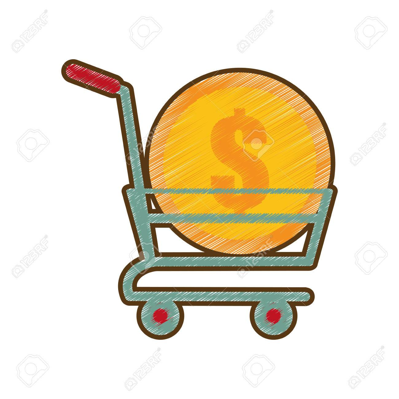 1300x1300 Drawing Shopping Cart Online Coin Dollar Vector Illustration