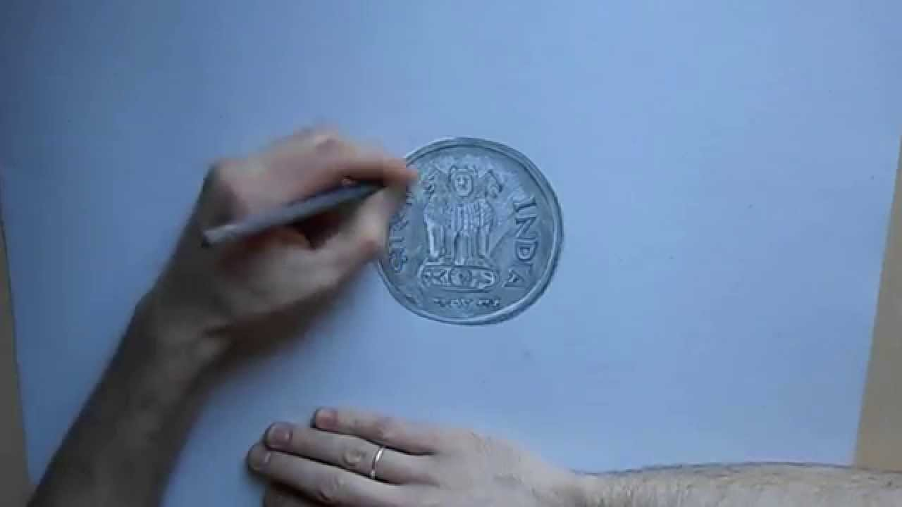 1280x720 Drawing Of A Coin India.speed Painting By Riestra.