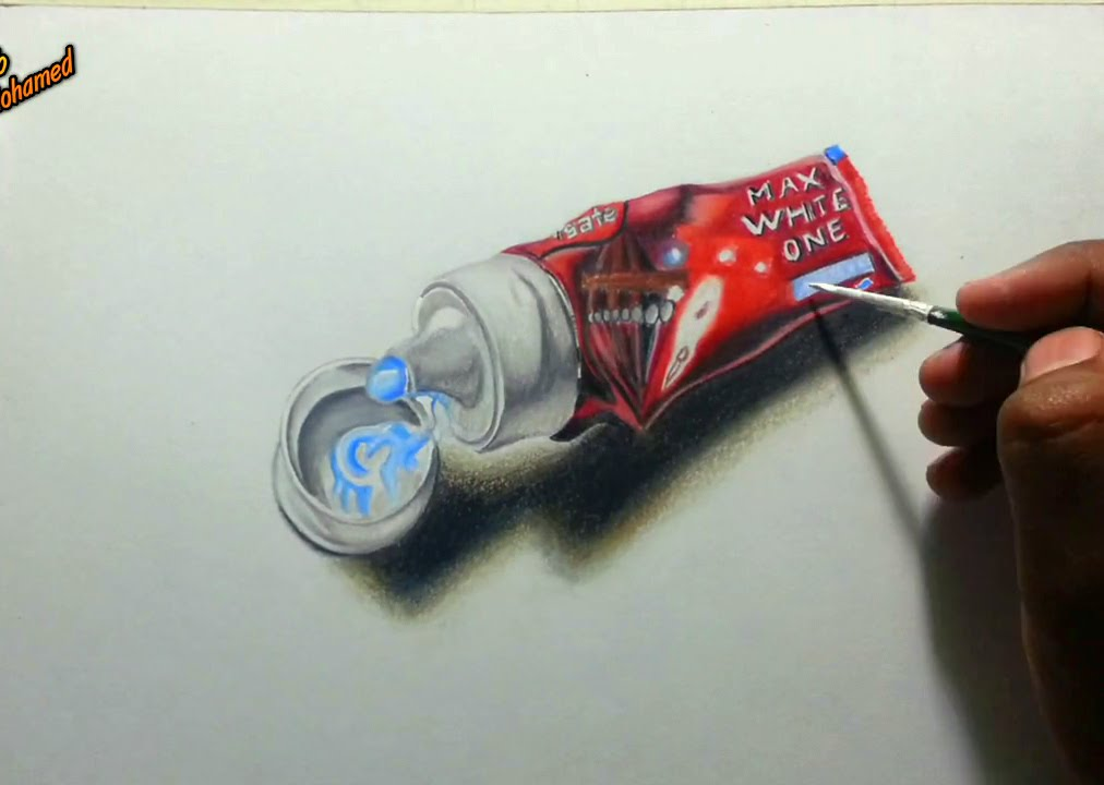1012x720 Realistic Drawing Of A Toothpaste