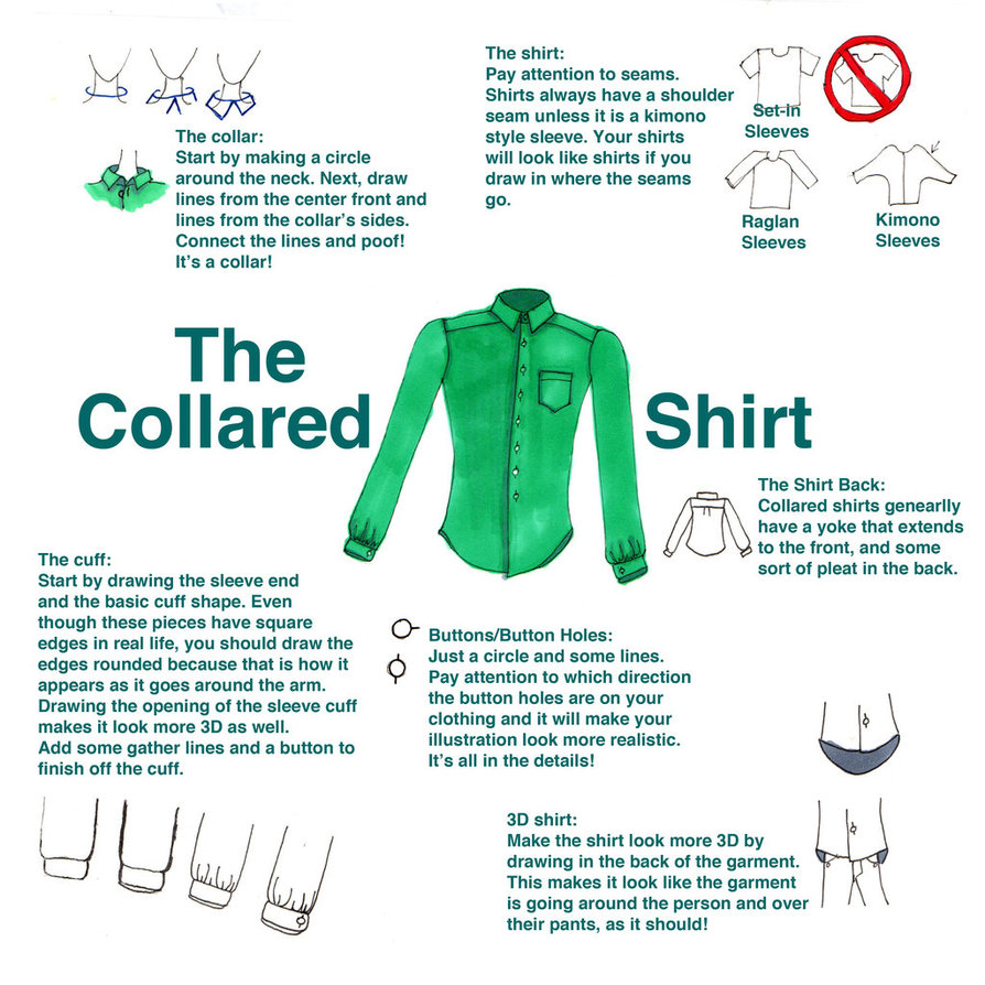 894x894 How To Draw A Collared Shirt Tutorial By Sufon