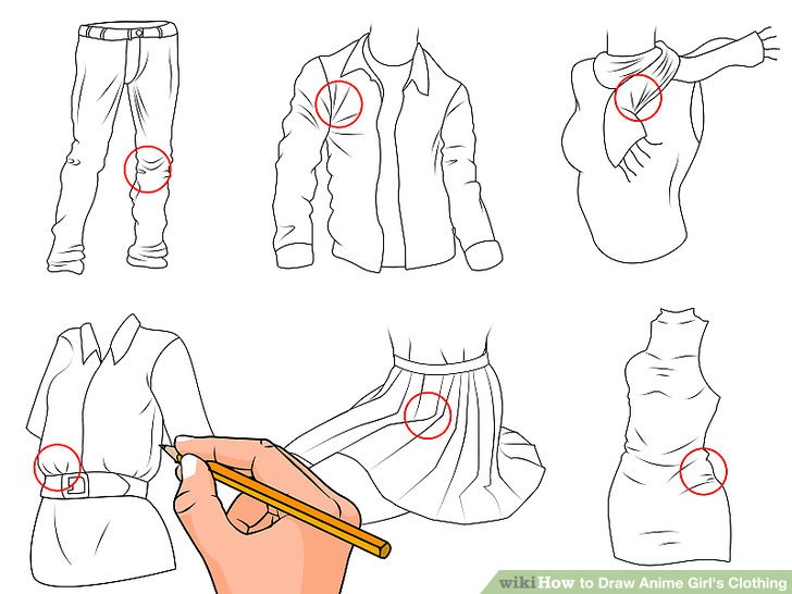 728x546 How To Draw Anime Girl's Clothing (With Pictures)