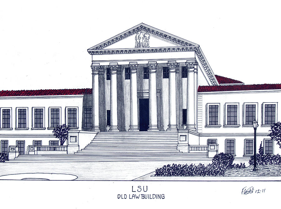 900x672 Lsu Old Law Building Drawing By Frederic Kohli