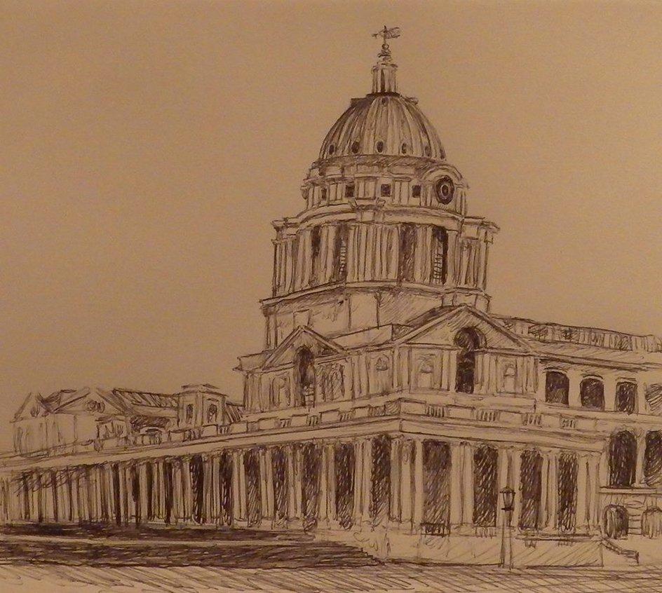 944x846 Pen Drawing Royal Naval College, Greenwich, London By A380fan