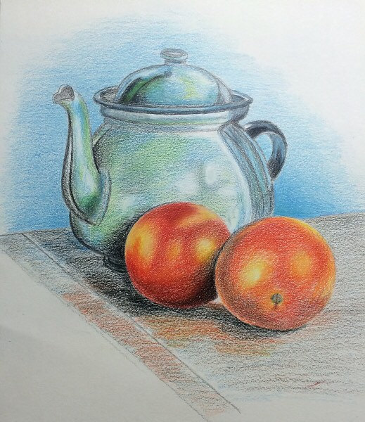 519x600 Still Life Original Colored Pencil Drawing By Jeselyzartshop