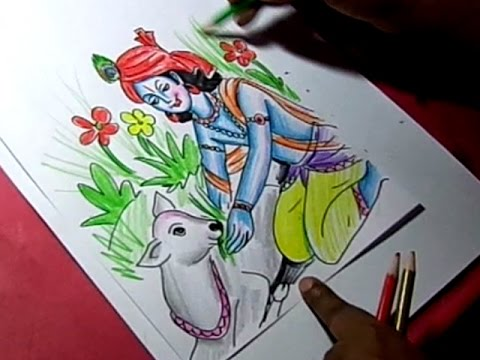 480x360 How Ro Draw Lord Krishna Giving Food To Cow Color Drawing