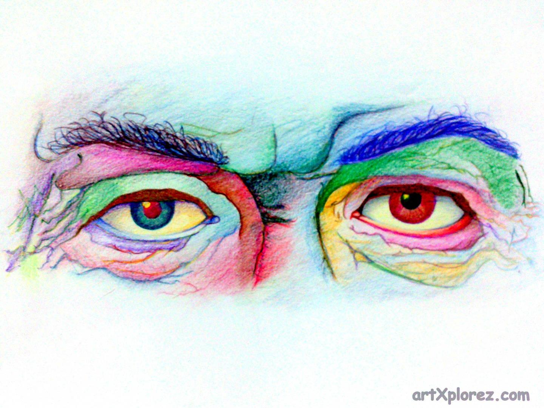 1440x1080 Unnatural Old Wrinkled Eye Pencil Color Sketch Artxplorez
