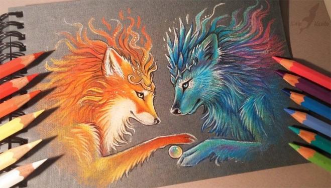 659x375 Fox Color Pencil Drawing By Alvia Alcedo 6