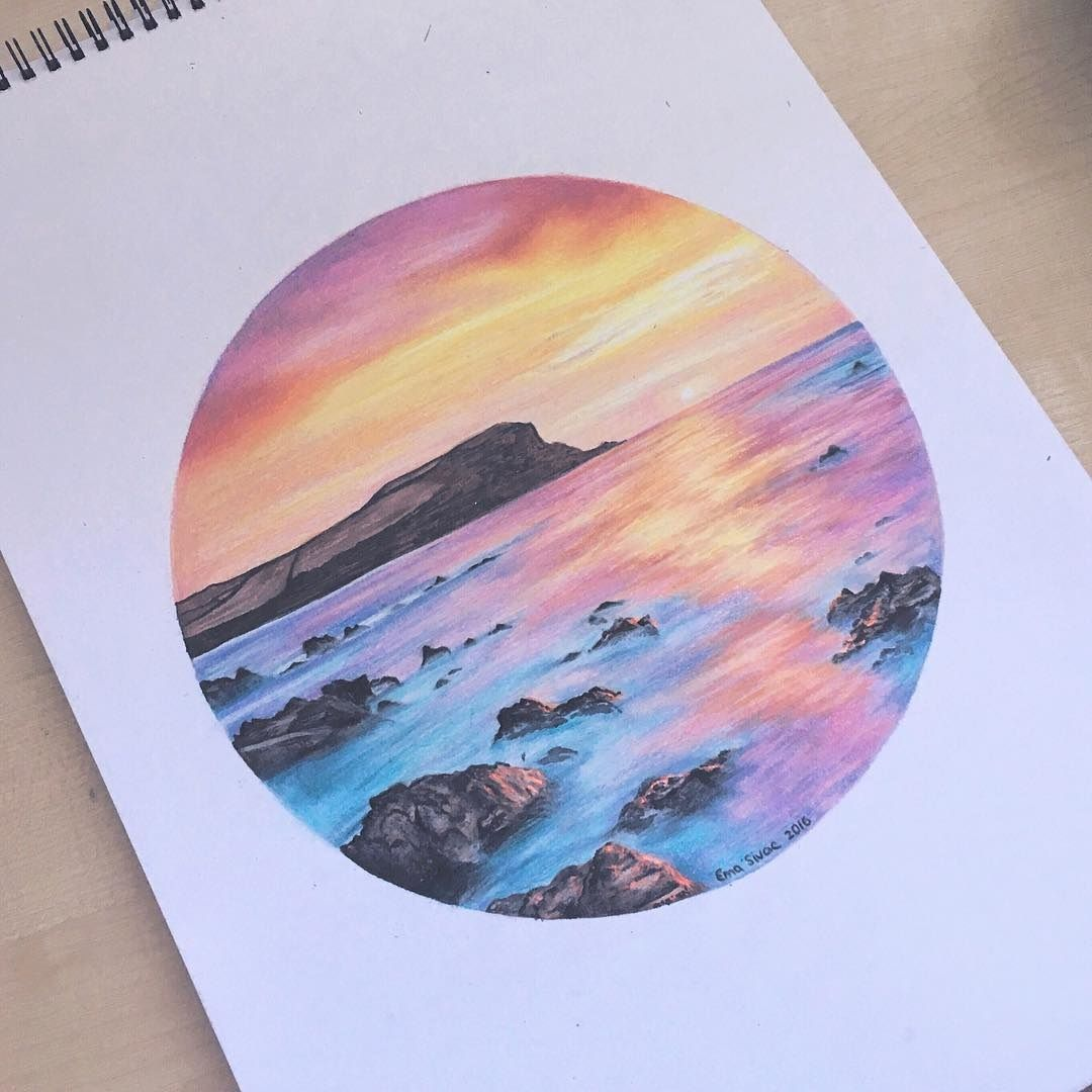 1080x1080 Dreamy Sunset Ema Sivac Colored Pencils 2016