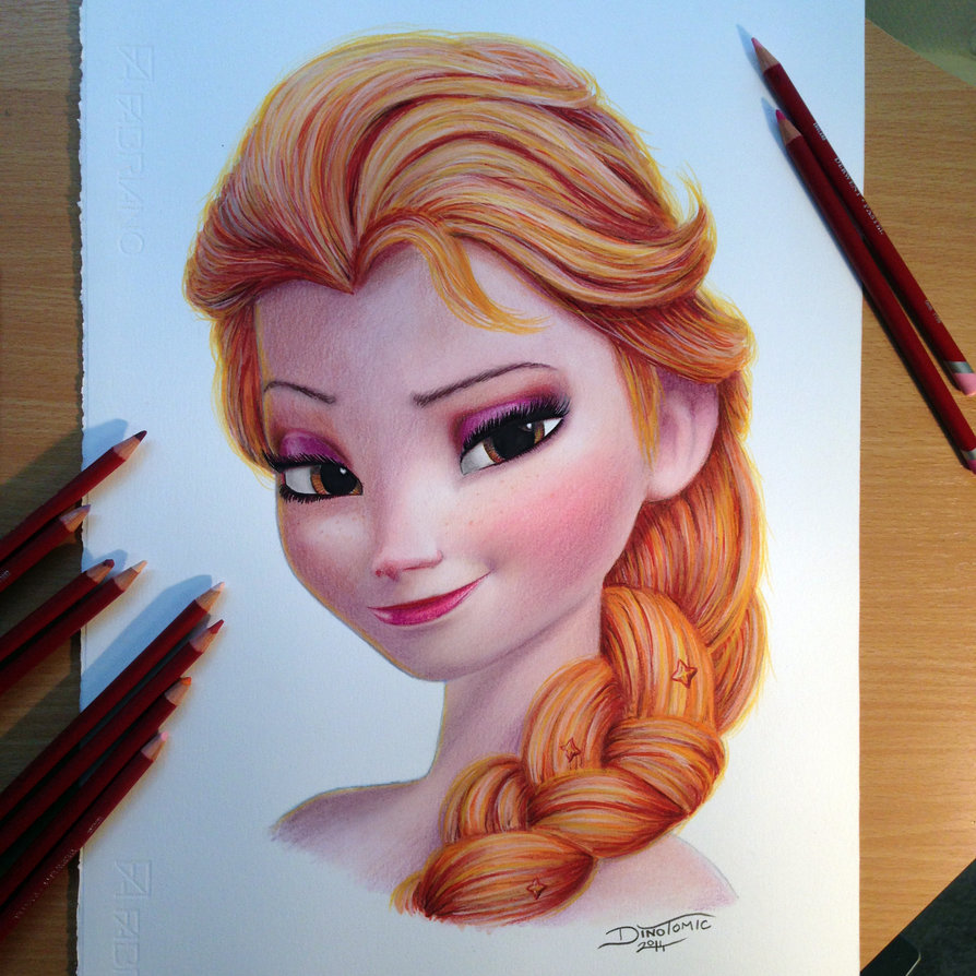 894x894 Elsa Color Pencil Drawing By Atomiccircus