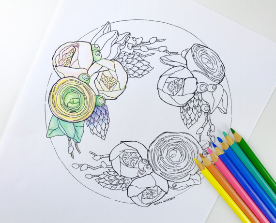 570x461 Ranunculus Flower Coloring Page For Adults Digital Coloring