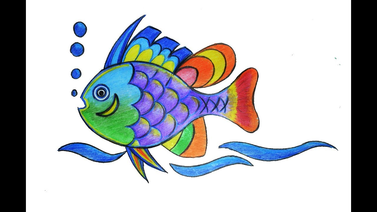 1280x720 Colorful Fish Drawing, How To Draw A Colorful Fish