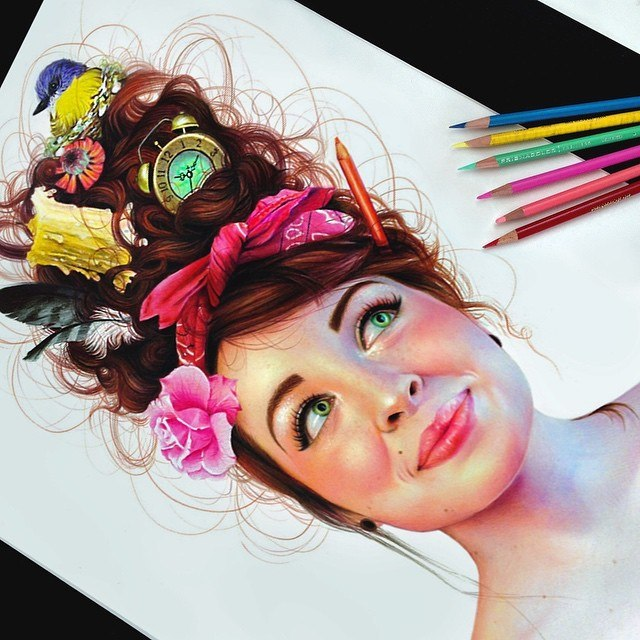 640x640 vibrant pencil drawings bursting with color by morgan davidson