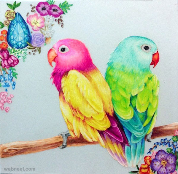 colorful bird drawing at getdrawings com free for personal use