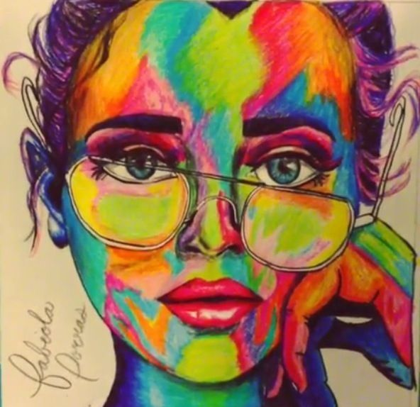 592x574 sometimes i color art girl colorful drawing colored pencils - Colorful Art