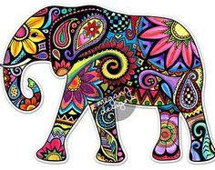 236x187 Elephant Car Decal Colorful Design Bumper Sticker Laptop Decal