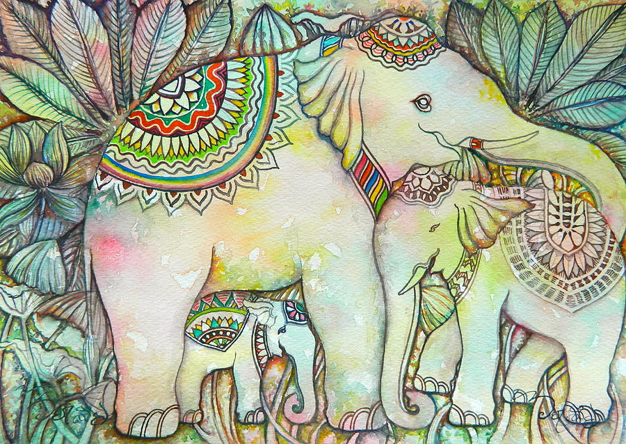 900x638 Elephant Family Drawing By Hay Chhoem