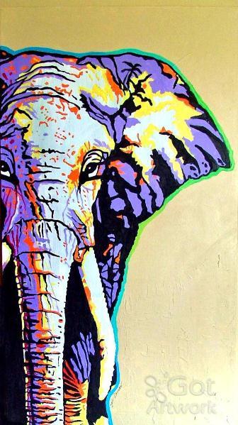 336x599 Elephant Painting By Gail Zavala