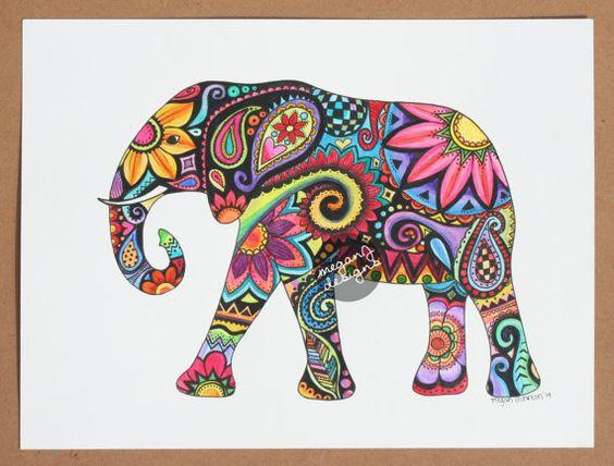 564x428 Original Watercolor Ink Elephant Painting Art