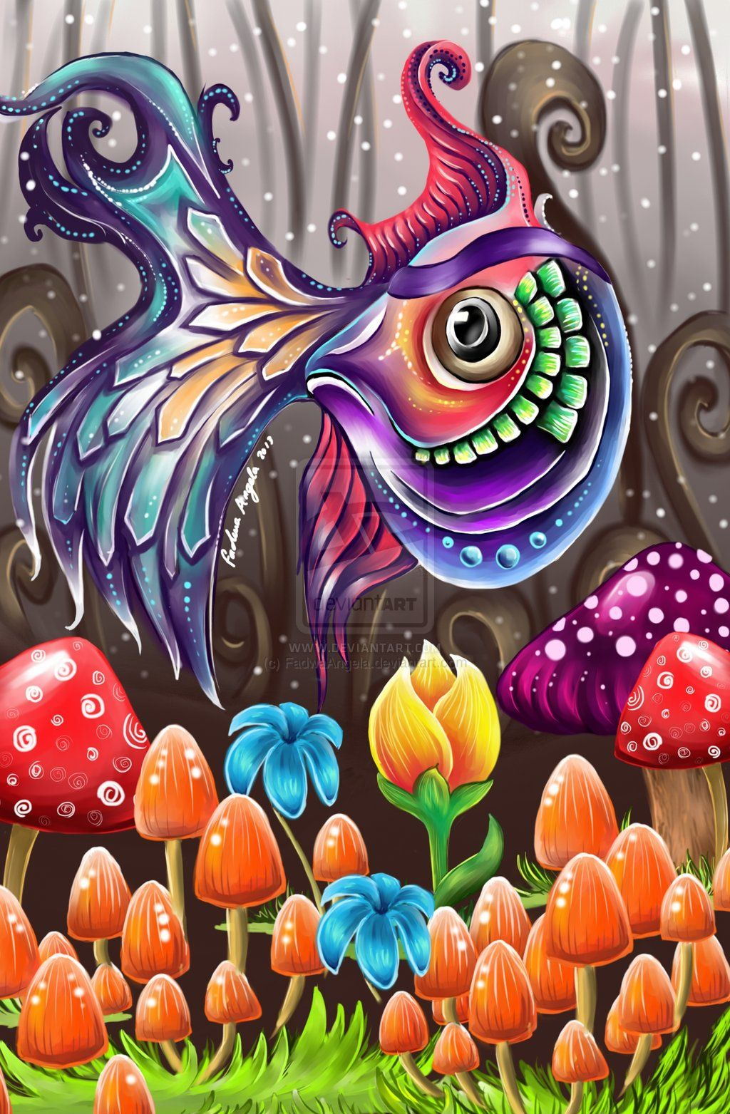 1024x1563 Colorful Art Colorful Fish By Fadwaangela Digital Art Drawings