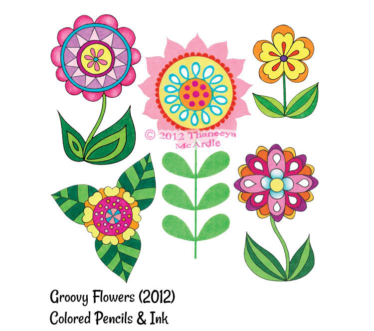 750x664 Cute Colorful Flowers Drawing By Thaneeya Mcardle Coloring