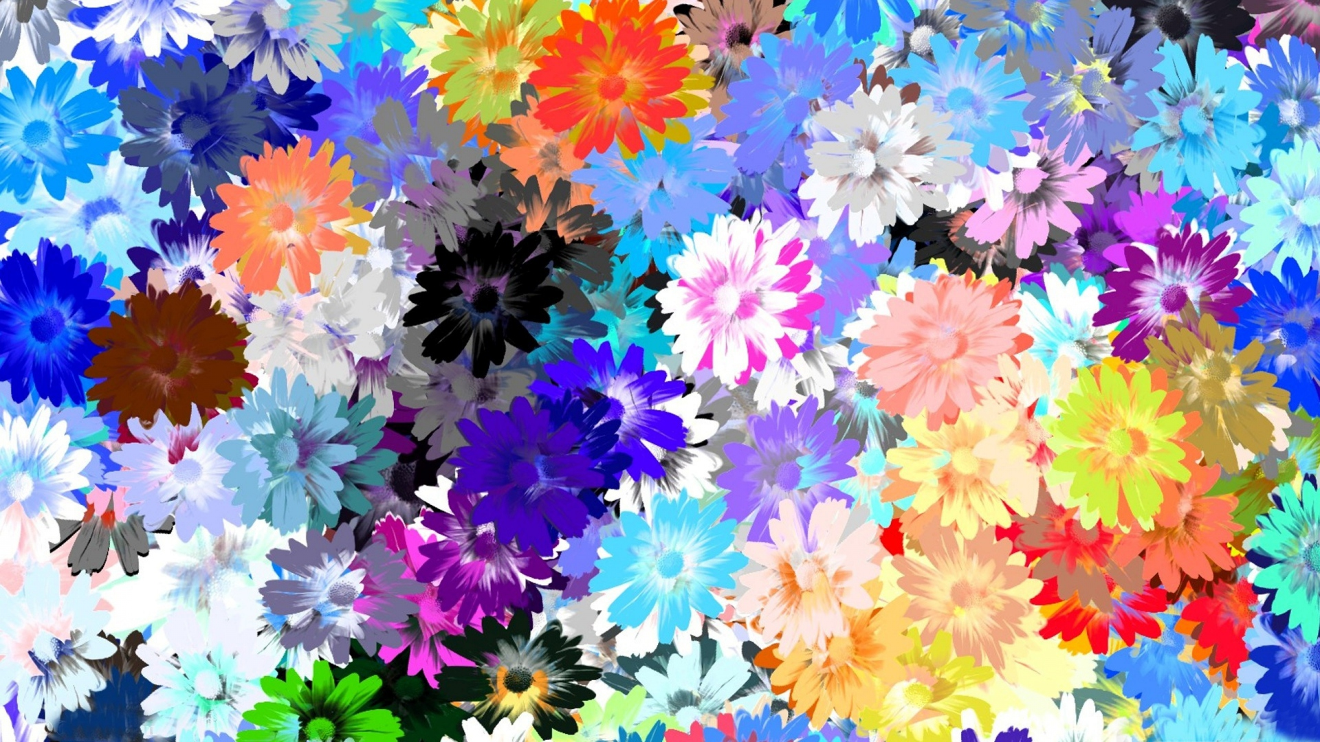 1920x1080 Download Wallpaper 1920x1080 Flowers, Colorful, Drawing, Oil Full
