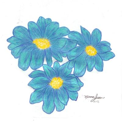 400x400 Pencil Drawings Of Flowers Blue Colored Pencil Flowers Drawing