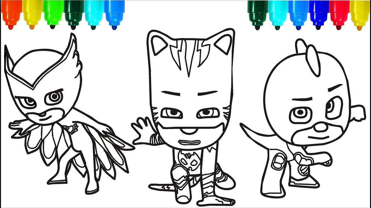 1280x720 Instructive Santa Claus Coloring Pages Pj Masks Colouring For Kids