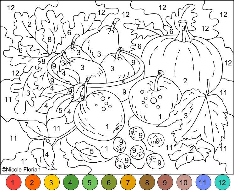 745x605 Nicole's Free Coloring Pages Color By Number Autumn Colors
