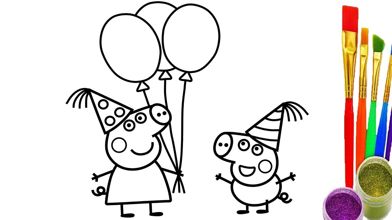 1280x720 How To Draw Peppa Pig And Geogre Pig Party Coloring Pages Drawing