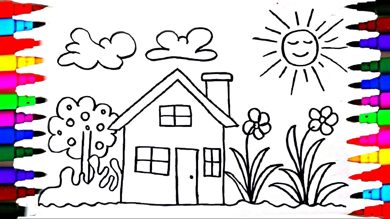 1280x720 Noted Drawing For Kids To Colour How Draw Playhouse Learning