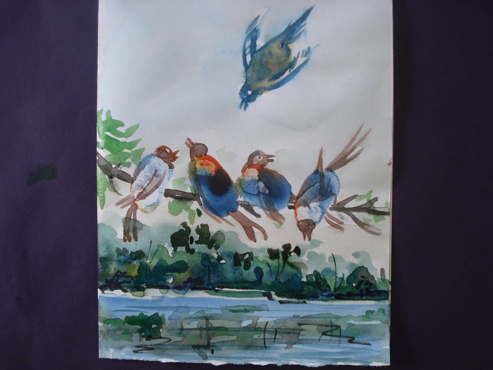 1632x1224 How To Draw Birds Painting With Using Thumbs And Water Colour